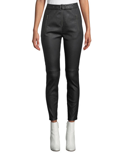 Kamil High-Waist Skinny-Leg Lamb Leather Pants
