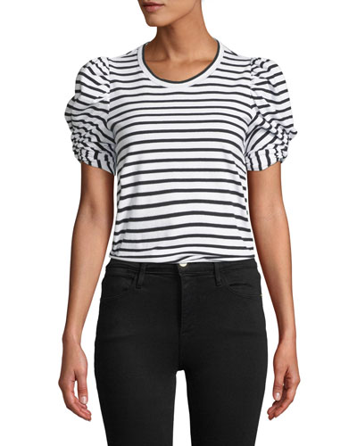Kati Striped Puff-Sleeve Crewneck Tee
