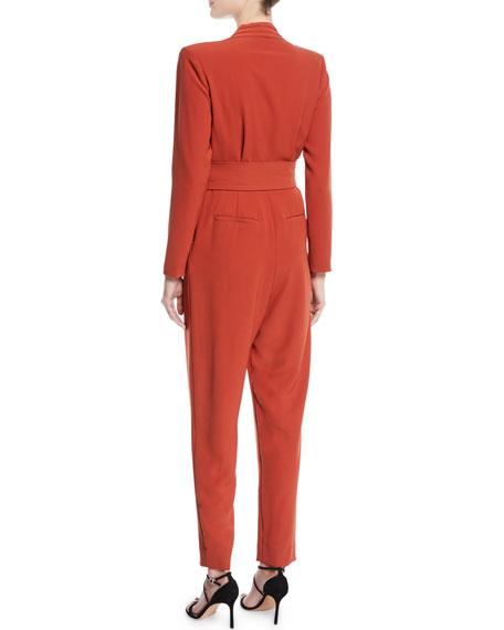 b7580aef5229 A.L.C. Kieran Belted Long-Sleeve Jumpsuit
