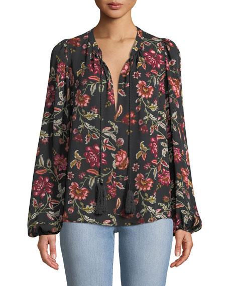 Royan Tie-Neck Long-Sleeve Floral-Print Silk Top