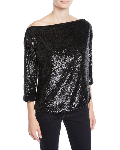 Zoey Off-Shoulder Sequin 3/4-Sleeve Top