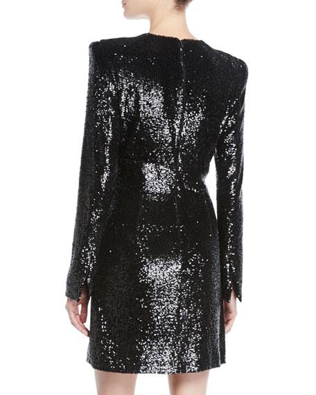 Mara Sequined Strong-Shoulder Short Dress