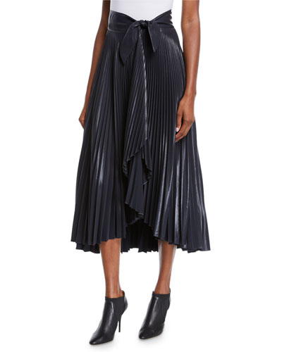 Eleanor Pleated High-Waist Midi Skirt