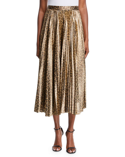 Bobby Leopard-Print Pleated Midi Skirt