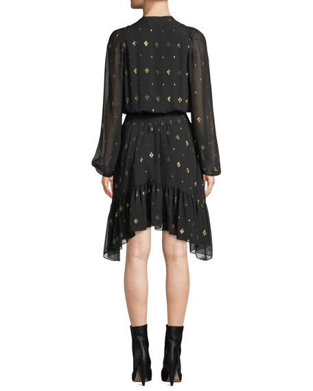 Sidney Long-Sleeve Metallic Flounce Dress