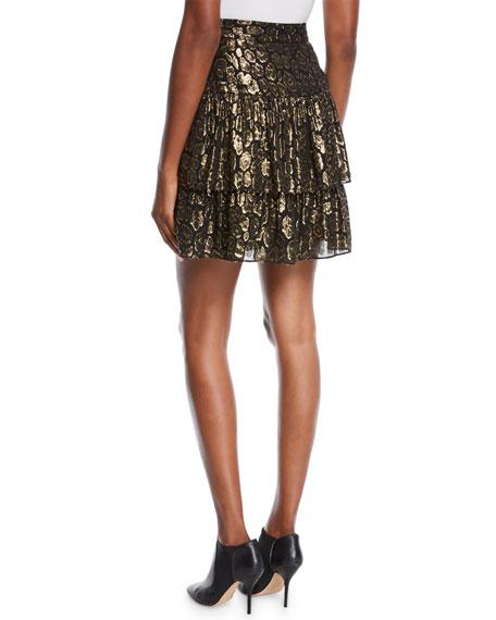 Baxter Tiered Metallic Ruffle Skirt
