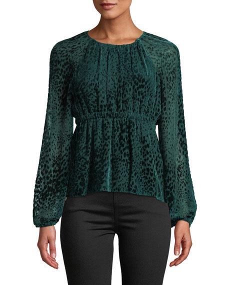 A.L.C. Karen Spotted Velvet Long-Sleeve Top