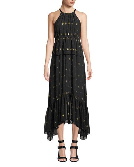 Rosa High-Neck Metallic Long Dress