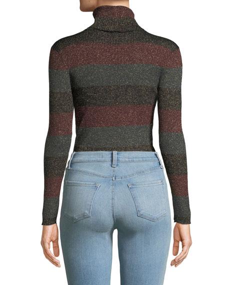 Mariel Striped Turtleneck Metallic Sweater