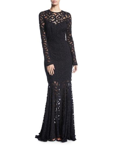 Viola Sheer Long-Sleeve Fishtail Dress
