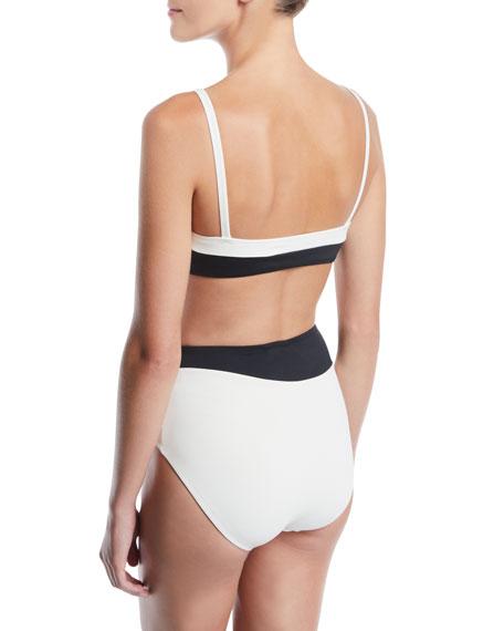 Colorblocked Bralette High-Waist Two-Piece Bikini Swim Set