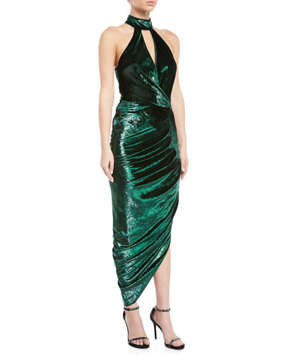 Jana Metallic Velvet Asymmetric Wrap Dress