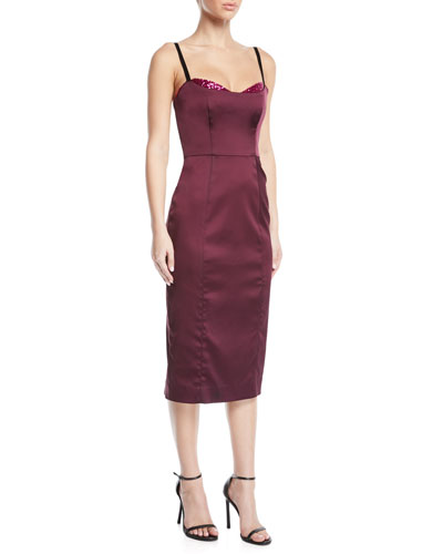 Abigale Sequin-Trim Midi Dress