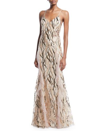 Savannah Sleeveless Sequin-Vine Gown