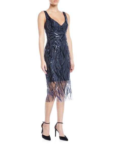 Milly  MARGARET V-NECK SLEEVELESS SEQUIN DRESS