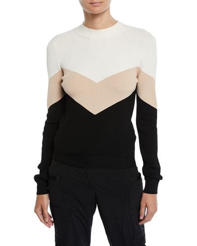 Colorblock Chevron Tie-Back Sweater