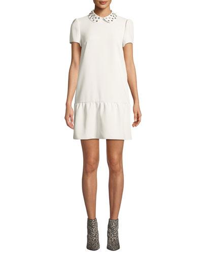 Studded-Collar Short-Sleeve Drop-Waist Dress