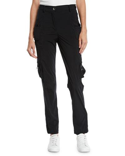 Nylon Straight-Leg Cargo Pants