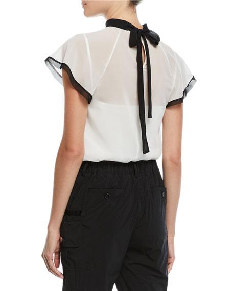 Contrast-Trim Back-Tie Sheer Top
