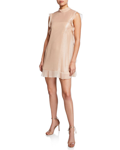 Satin Shimmer Ruffle-Trim Mini Dress