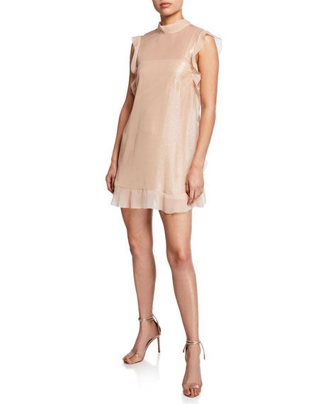 Image 1 of 1: Satin Shimmer Ruffle-Trim Mini Dress