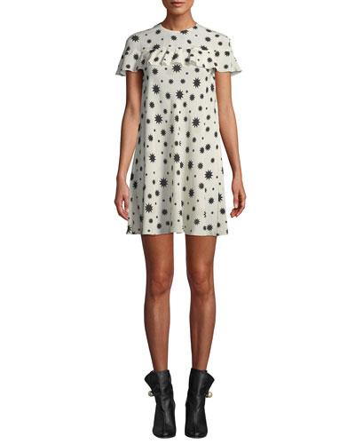 Star-Print Ruffled Shift Dress