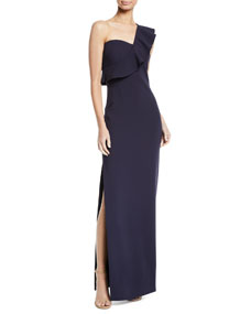 Likely Halsey Ruffle One Shoulder Gown