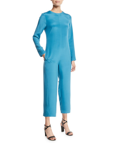 Open-Back Silk Long-Sleeve Jumpsuit with Fringe Tie