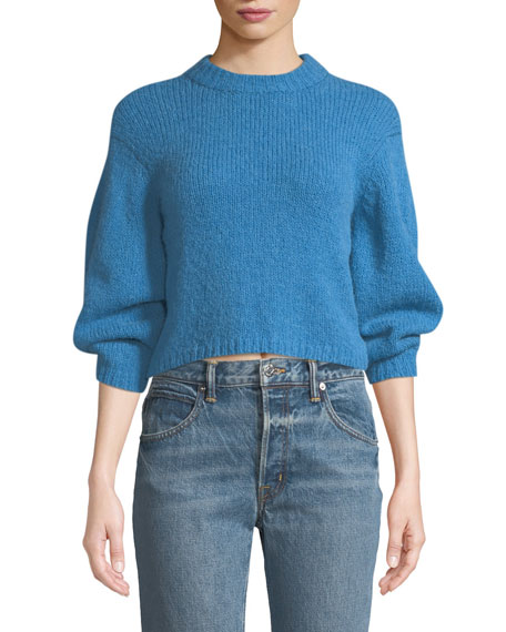 Tibi Sweaters COZETTE CROPPED ALPACA PULLOVER SWEATER