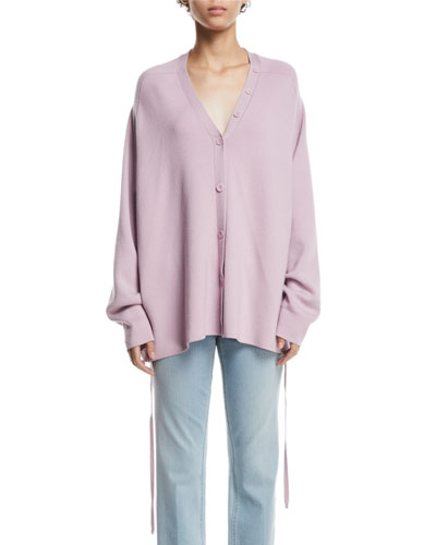 Slouchy Satin-Back Wool V-Neck Cardigan