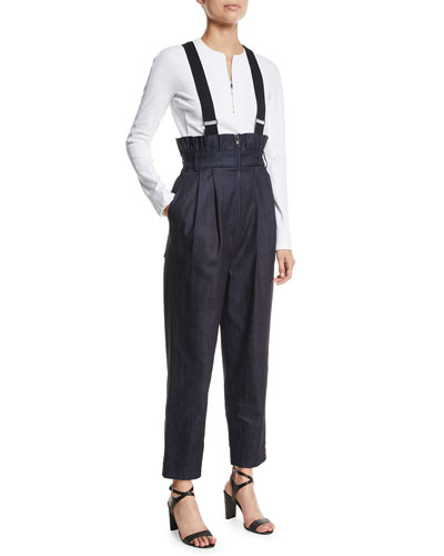 Denim Paperbag Overalls with Removable Straps