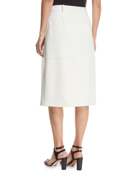 Anson Stretch A-Line Belted Skirt