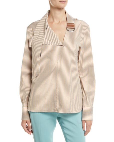 Tibi Kaia Striped Tie-Collar Long-Sleeve Shirt