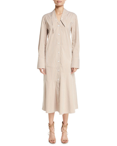 Kaia Striped Dropped-Waist Long Shirtdress