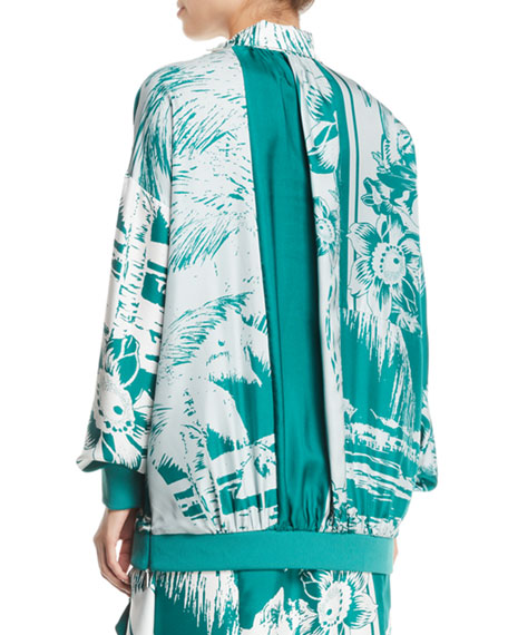 Leilani Printed Funnel-Neck Silk Sweatshirt