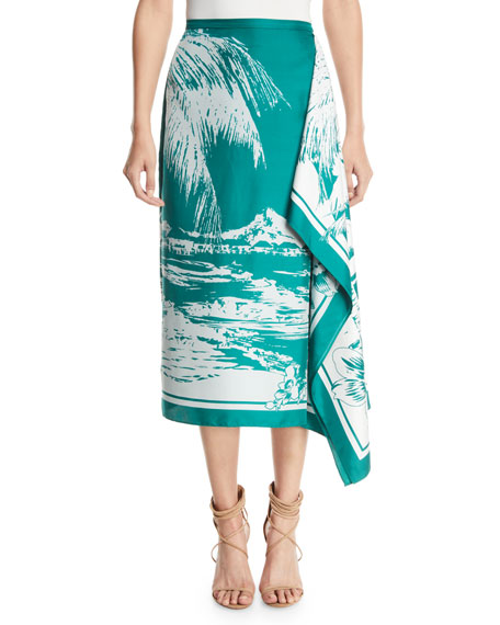 Leilani Printed Twill Asymmetrical Midi Skirt