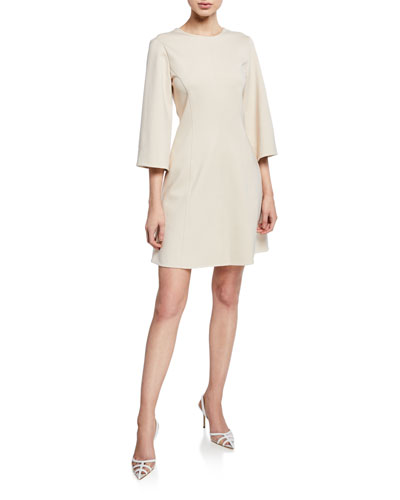Stretch-Knit 3/4-Sleeve Mini Wrap Dress