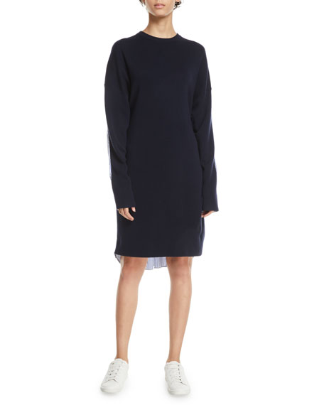 Crewneck Merino Wool Sweaterdress with Men's Shirt Combo