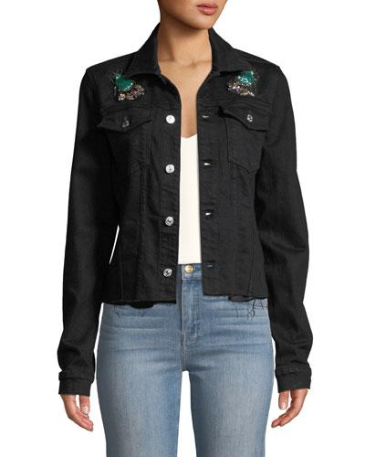 Embellished Frayed Denim Trucker Jacket