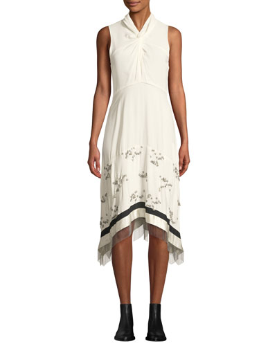Twist-Front Embellished Silk Sleeveless Dress with Chain Fringe