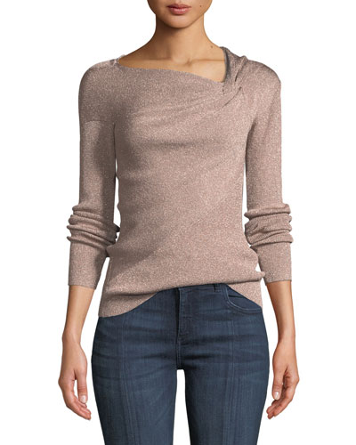 Metallic Ribbed Draped Pullover Sweater