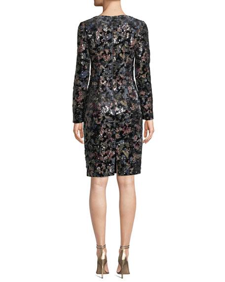 Floral-Sequin Long-Sleeve Velvet Dress