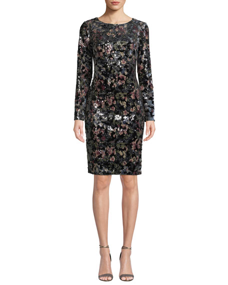 Badgley Mischka Collection Floral-Sequin Long-Sleeve Velvet Dress