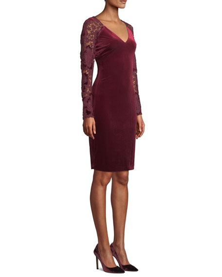 Lace Long-Sleeve & Velvet Dress