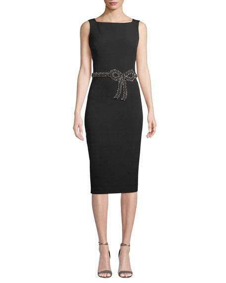 Sleeveless Embellished Bow Sheath Dress, Black
