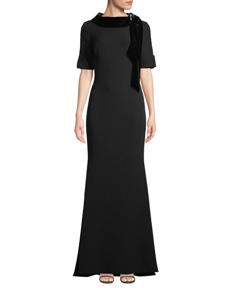 Badgley Mischka Collection Velvet & Grommet Stand-Collar Crepe