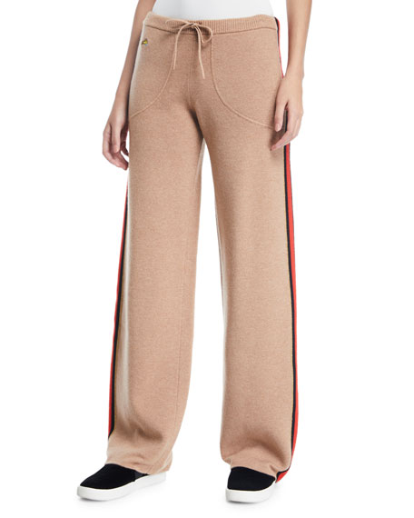 Race Track Side-Stripe Wool/Cashmere Track Pants