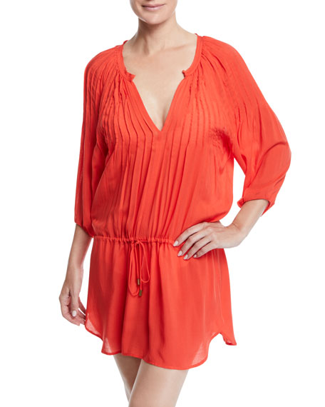 Vix SARA SPLIT-NECK CAFTAN COVERUP DRESS W/ PINTUCKING