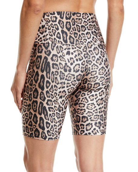 High-Rise Leopard-Print Activewear Bike Shorts