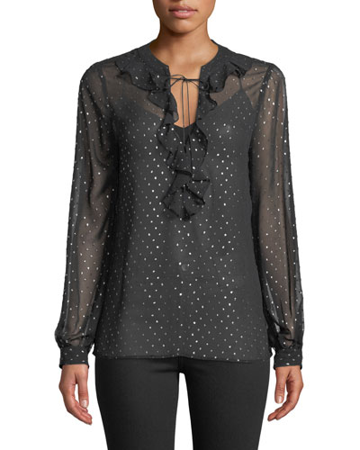 Marcella Ruffle Long-Sleeve Metallic Blouse